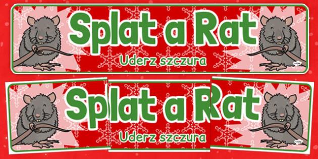 Christmas Themed Splat a Rat Banner Polish Translation - polish, christmas, themed, splat a rat, banner, display