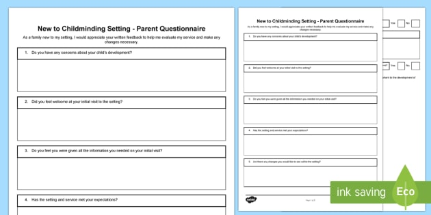 New to Childminding Setting - Parent Questionnaire  - parent feedback, reflective practice, questionnaire, childminder, child minder, childminder paperwor