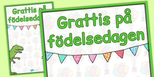 Swedish Happy Birthday Posters Dinosaur Themed - swedish, poster