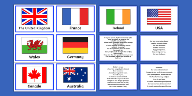 National Anthems Matching Cards