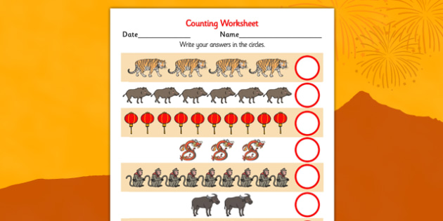 Chinese New Year Counting Worksheet - chinese, new year, counting