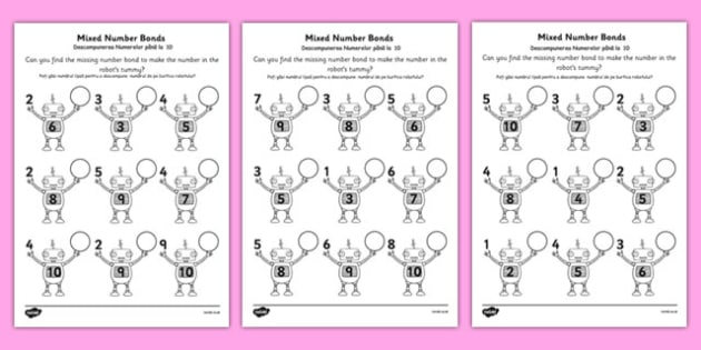 Mixed Number Bonds to 10 on Robots Worksheet Romanian Translation - romanian, number bonds