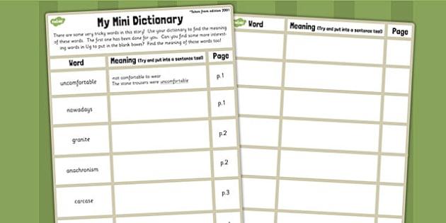 Mini Dictionary Writing Template to Support Teaching on Ug - ug, dictionary, words, vocabulary, sheet