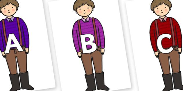A-Z Alphabet on Rapunzels Father - A-Z, A4, display, Alphabet frieze, Display letters, Letter posters, A-Z letters, Alphabet flashcards