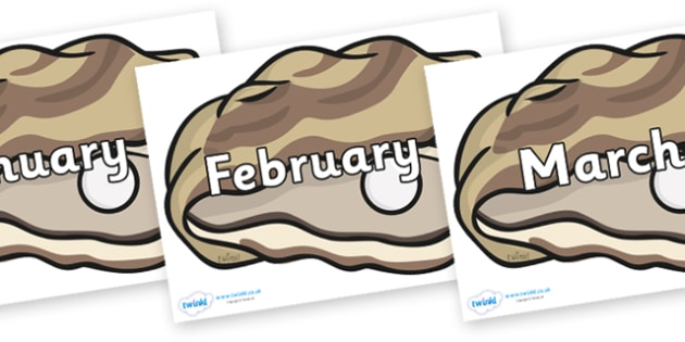 Months of the Year on Oysters - Months of the Year, Months poster, Months display, display, poster, frieze, Months, month, January, February, March, April, May, June, July, August, September