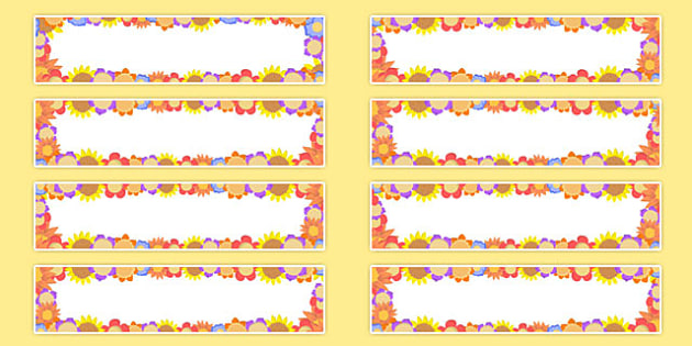 Flower Themed Editable Gratnells Tray Labels - tray label, flower