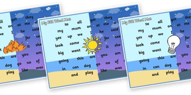 Light and Dark Themed FS2 Word Mat - fs2 word mat, light and dark, fs2, word mat, light, dark, foundation stage two, word, mat, light and dark fs2 word mat