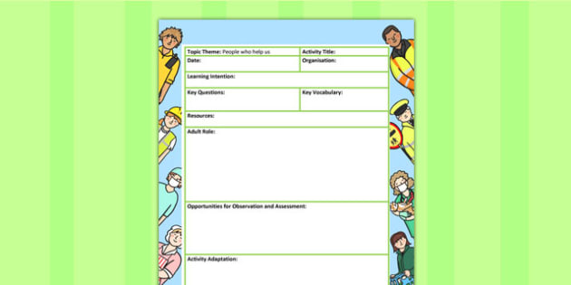 People Who Help us Themed Adult Led Focus Planning Template