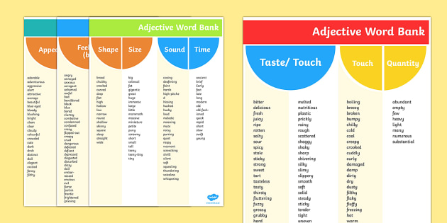 Adjective Word Bank Reference Sheets - adjective, word bank, words, adjectives