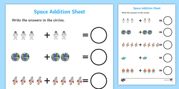 Space Addition Sheet - space, space addition, space addition worksheet, space counting and addition, space counting, space numeracy, counting worksheet