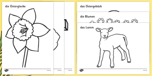 Easter Colouring Images German - german, Easter, colouring poster, colouring, fine motor skills, activity, Easter, bible, egg, Jesus, cross, Easter Sunday, bunny, chocolate, hot cross buns