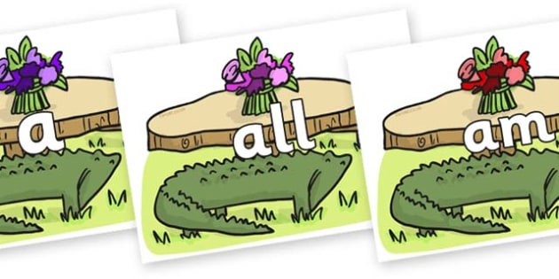 Foundation Stage 2 Keywords on Trick Four to Support Teaching on The Enormous Crocodile - FS2, CLL, keywords, Communication language and literacy,  Display, Key words, high frequency words, foundation stage literacy, DfES Letters and Sounds, Letters