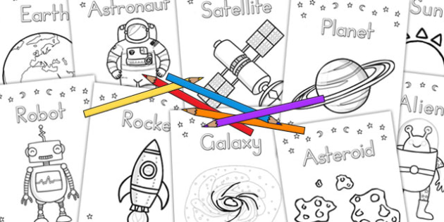 Space A4 Display Colouring Posters - australia, display, colouring