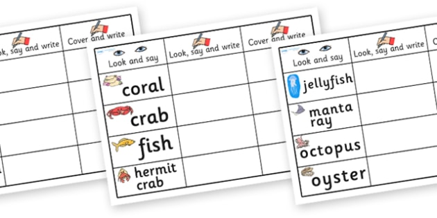 Under the Sea Topic Word Practise Worksheet - under the sea, under the sea words, under the sea look say and write sheets, under the sea look say and write