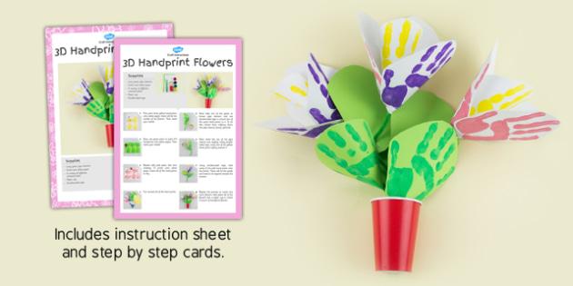 3D Handprint Flowers Craft Instructions - craft, instructions