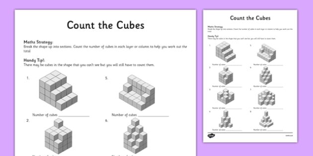 Year 5 Count the Cubes Activity Sheet - Worksheet, test skills, NAPLAN, three dimensional shapes, 3D, composite shapes, blocks, bricks, problem solving, visualisation, spatial awareness, reasoning