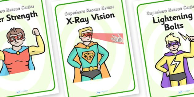 Superhero Rescue Centre Role Play Diplay Posters - superhero, rescue centre, role play, display posters, superhero posters, superhero role play, posters