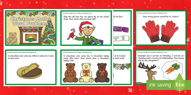 Year 1 Christmas Word Problem Challenge Cards - challenge cards