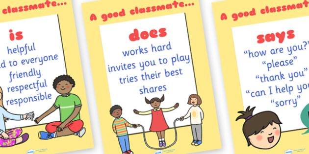 A Good Classmate Poster Set - a good classmate, poster, display poster, class display, literacy display, english display, poster for display, rules poster