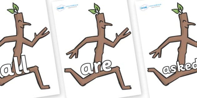 Tricky Words on Stick Man to Support Teaching on Stick Man - Tricky words, DfES Letters and Sounds, Letters and sounds, display, words