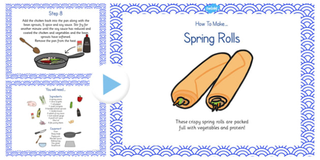 Crispy Spring Rolls Recipe PowerPoint - spring roll, recipe