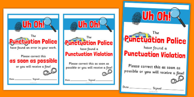 Punctuation Police Correction Ticket - punctuation police, correction ticket, punctuation, police