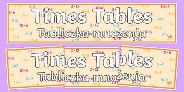 Times Tables Display Banner Polish Translation - polish, times tables, display banner, display, banner