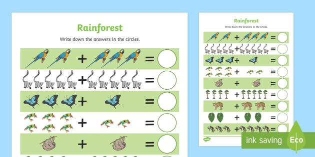 Rainforest-Themed Up to 10 Addition Sheet - rainforest, up to 10, addition, add, maths, mathematics