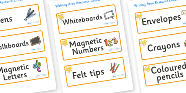 Amber Themed Editable Writing Area Resource Labels - Themed writing resource labels, literacy area labels, writing area resources, Label template, Resource Label, Name Labels, Editable Labels, Drawer Labels, KS1 Labels, Foundation Labels, Foundation
