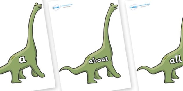 100 High Frequency Words on Brachiosaurus - High frequency words, hfw, DfES Letters and Sounds, Letters and Sounds, display words