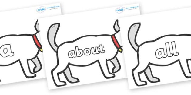 100 High Frequency Words on White Dog to Support Teaching on Brown Bear, Brown Bear - High frequency words, hfw, DfES Letters and Sounds, Letters and Sounds, display words