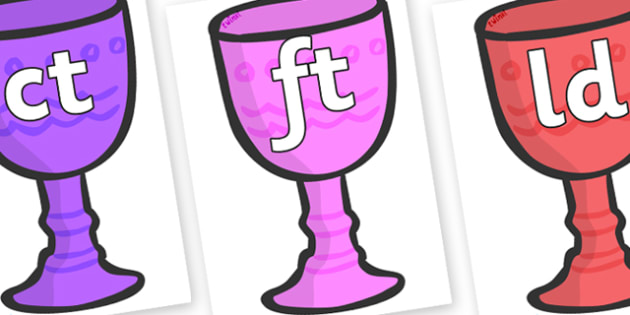 Final Letter Blends on Goblets - Final Letters, final letter, letter blend, letter blends, consonant, consonants, digraph, trigraph, literacy, alphabet, letters, foundation stage literacy