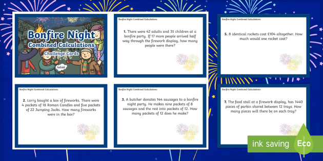LKS2 Bonfire Night Combined Calculations Challenge Cards