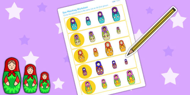Russian Doll Size Matching Worksheets - russian doll, size, match