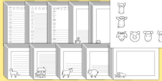 Editable Farm Black and White Page Borders Pack - farm, page borders
