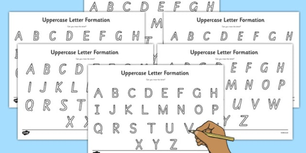 Uppercase Letter Writing Help Worksheet - australia, writing, help, letter