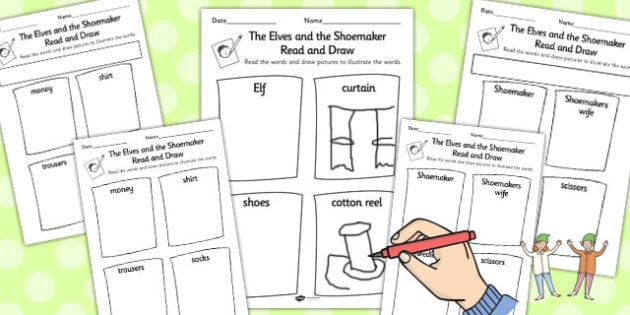 The Elves and the Shoemaker Read and Draw Worksheet - read, draw