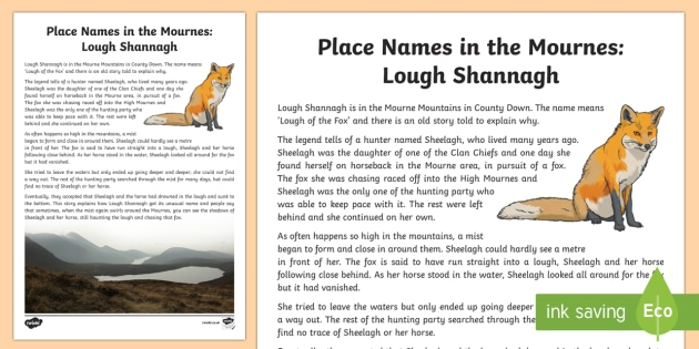Place Names in the Mournes, Lough Shannagh Story - World Around Us, Mourne Mountains, County Down, fox, local, legend, Northern Ireland
