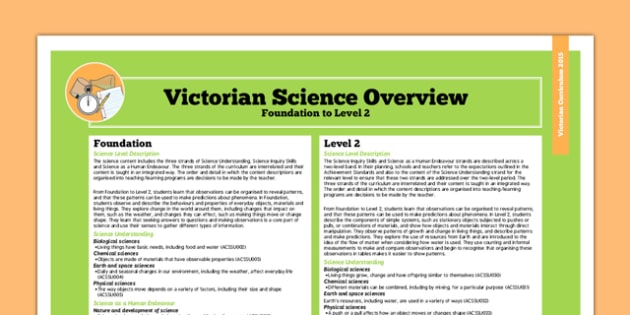 AusVELs Victorian Curriculum Foundation to Level 2 Science Overview - australia