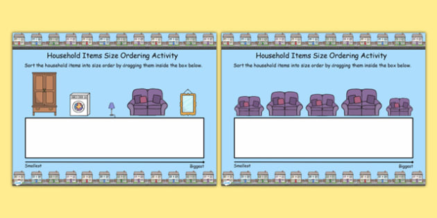 Houses and Homes Themed Size Ordering Activity For IWB - order