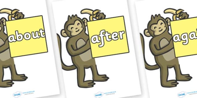 KS1 Keywords on Monkeys - KS1, CLL, Communication language and literacy, Display, Key words, high frequency words, foundation stage literacy, DfES Letters and Sounds, Letters and Sounds, spelling