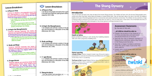 PlanIt - History UKS2 - The Shang Dynasty Unit Planning Overview CfE - PlanIt, CfE, social studies, people in the past, history
