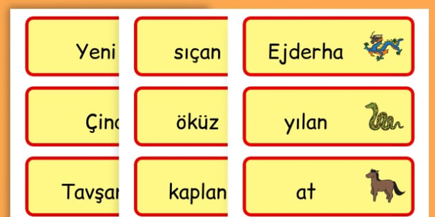 Chinese New Year Topic Word Cards - chinese new year, word cards - Turkish