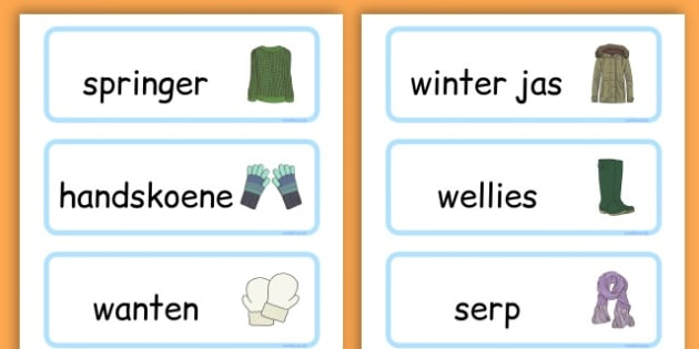 Winter Clothes Word Cards - winter clothes, word cards, winter, clothes - Afrikaans