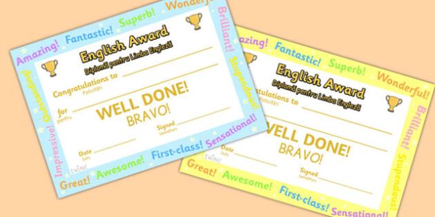 English Award Certificate Romanian Translation - romanian, certificate