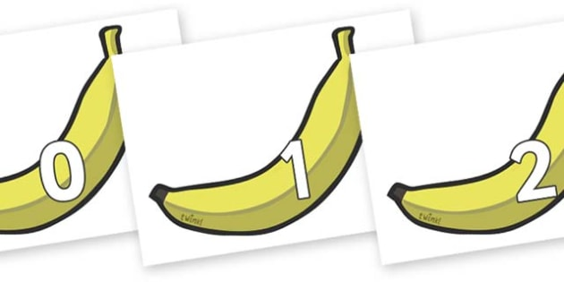 Numbers 0-31 on Bananas - 0-31, foundation stage numeracy, Number recognition, Number flashcards, counting, number frieze, Display numbers, number posters