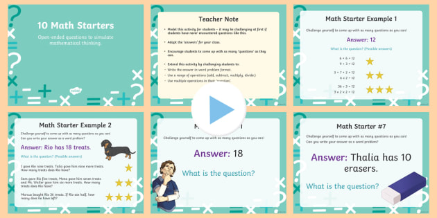 Open Ended Math Starter Questions for Grades 1-5 PowerPoint - US Requests, maths starters, open ended questions, quick starters, brain thinking activities, quick