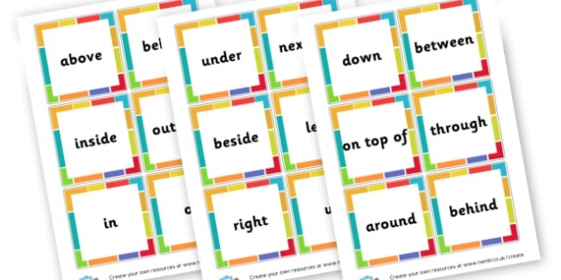 Positional Language Word Cards - Position Primary Resources, positional, shapes, space, measures