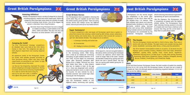 Great British Paralympians Differentiated Fact File