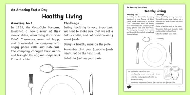 Healthy Living Activity Sheet, worksheet